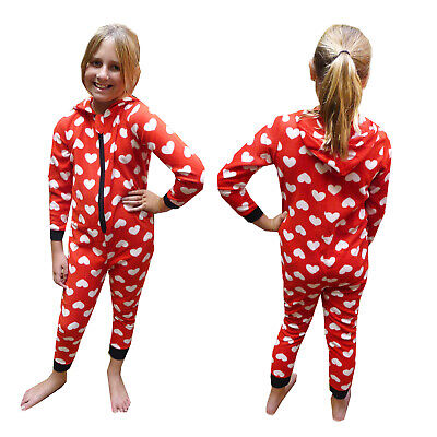 Girls Hearts All In One Nifty Kids New Hooded Soft Sleepsuit Childrens Nightwear