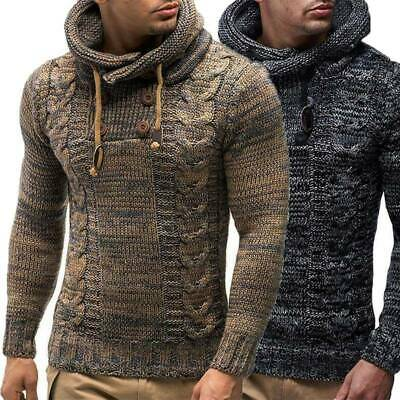 Mens Warm Cable Knitted Hooded Long Sleeve Jumper Pullover Sweater Winter Coat