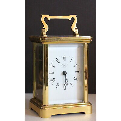 Oversized Brass Cased Carriage Clock Chiming Half Hourly on Bell Rapport London