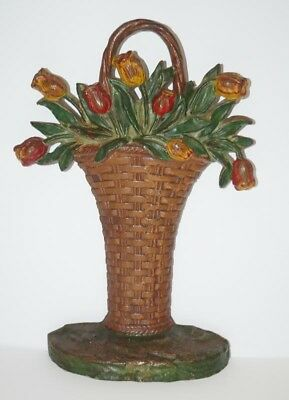 ANTIQUE TULIP FLOWERS IN WOVEN BASKET CAST IRON HUBLEY DOORSTOP CIRCA 1920's