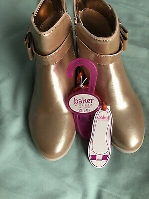 Ted Baker Girls Party Ankle Boot Rose Gold Glitry Back Size 12