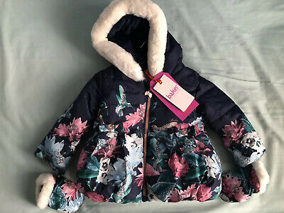Ted Baker Baby Girls Coat Age 6-9 Months Floral Border Print And Mittens