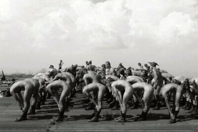 POSTCARD Print / WWII nude soldiers exercises / Gay Interest