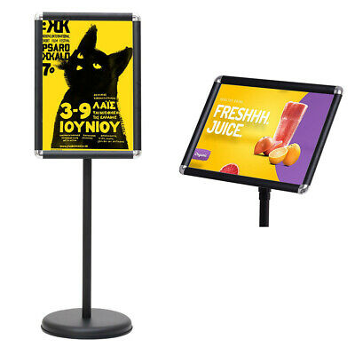 Aluminum Pedestal Poster Stand Snap in Rotatable Frame Adjustable Height