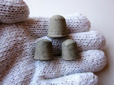 Lot of 3 late Byzantine / Medieval engraved bronze thimbles, X-XIV AD.