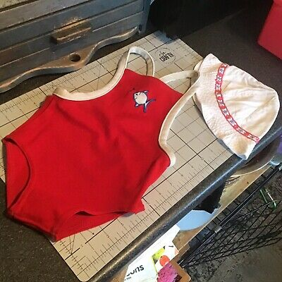 Vintage Swim Set Hat And Suit 70s Bri Nylon 3-4 Years