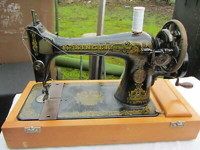 Vintage Singer Sewing Machine 127k 1917  Egyptian Sphinx Memphis Design