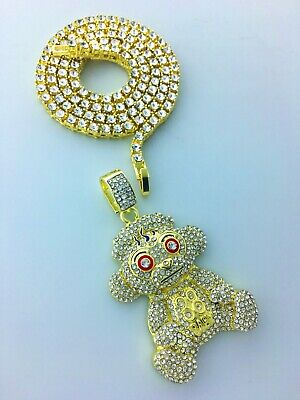 "38 Baby Monkey Gold Plated Pendant with 24"" CZ Tennis Chain"