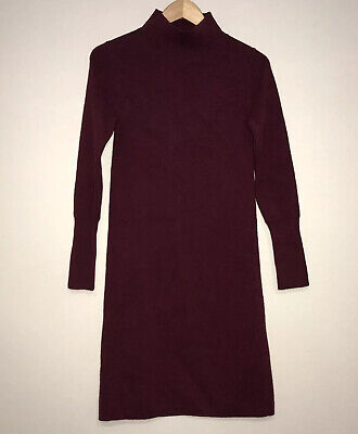 Ann Taylor Burgundy Sweater Dress Mock Turtle Neck Small NWTs