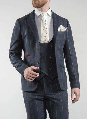 Navy Tweed Suit Three Piece Keaton Slim Fit Check by Marco Prince