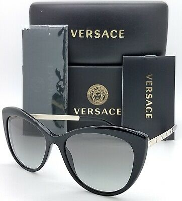NWT Versace Sunglasses VE 4348 GB1//11 Shiny Black// Gradient Gray 57 mm GB111 NIB