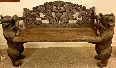 RARE Early 20th Century Black Forest Carved Wooded Hall Bear Bench 155cm Large