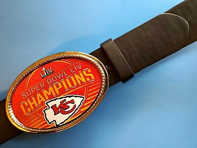KANSAS CITY CHIEFS 2020 SUPER BOWL LIV -Championship Epoxy Buckle & Black Belt
