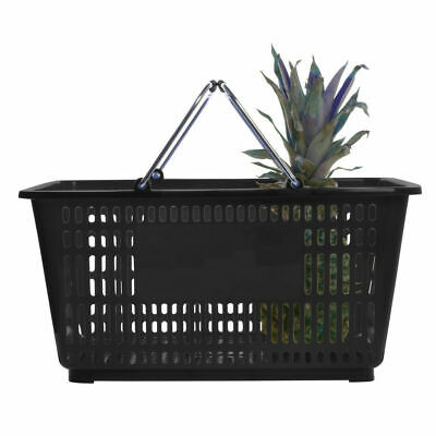 "HUBERT® 32 Liter Black Plastic Shopping Basket - 20""L x 14""W x 9 3/8""D"