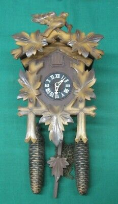 Vintage Hubert Herr 8 Day Bird Cuckoo Clock Black Forest Germany; Refurbished