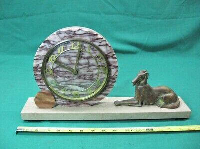 Antique French Art Deco Marble Clock With Russian Wolf Hound/Dog; 1930's