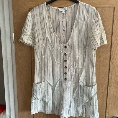 Topshop Stripe Button Up Playsuit Size Small 8 10 BNWT
