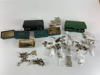 Lot Of Vintage Singer Parts Sewing Machine Attachments Automatic Hemstitcher Box
