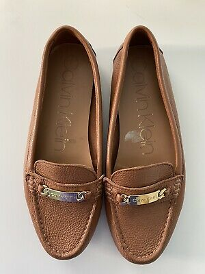 NWOB Calvin Klein Womens Brown Leather Loafer Size 8.5