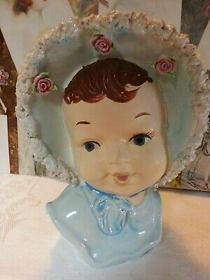 Rare vintage lady head vase, baby, toddler, bonnet with roses and 'lace'