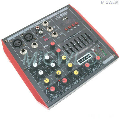 MG4 4 Channel Audio Mixer Mixing Console 7-Band EQualizer USB Phantom Power 48V