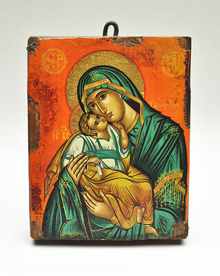 Religious Byzantine Hand painted Icon of Mary Mother of God and Son Baby Jesus