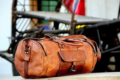 """20"""" Unisex New Vintage Real Pure Leather Gym Bag Travelling Handmade Duffel Bag"""