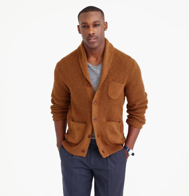 J Crew Mens Long Sleeve Cotton Textured-Stitch Cardigan Knit Sweater Brown Sz XL