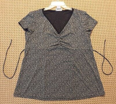 Motherhood Maternity Blouse Size XL black/white Short Sleeve Shirt Top Career
