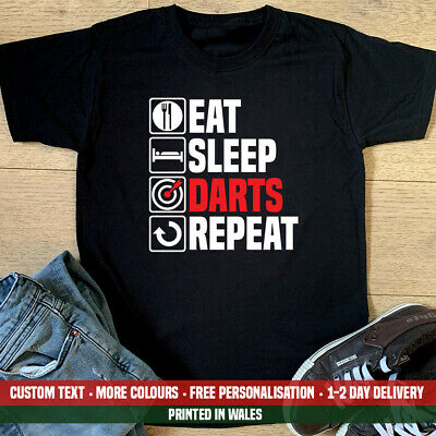 Eat Sleep Darts Repeat T Shirt Funny Dart Board Set Pub Dad Christmas Gift Top
