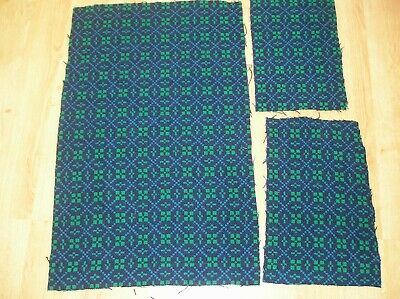Remnant Welsh Tapastery Material Navy Blue with Emerald Green and Cobalt Blue