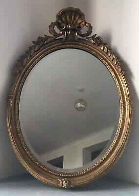 19th Century Antique French Giltwood Mirror. Bedroom Hall Gilt Oval Victorian af