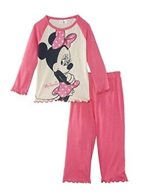 Disney Girls Minnie Mouse Pyjamas Age 8 Years Pink Long Sleeve Cotton Pj Set NEW