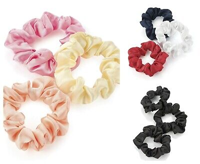 Pack of 3 Small Elasticated Scrunchies Girls Ladies Hair Accessories Bobbles