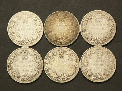 1910 1913 1916 1917 1918 1919 Canada 25 Cents Lot of 6 Silver 92.5% #1402