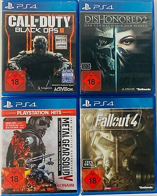4x FSK 18 PS4 Spiele (CoD Black Ops 3,Dishonored 2,Metal Gear Solid V,Fallout 4)
