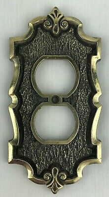 Vintage SA Metal Electrical Outlet Switch Cover Ornate Single Brass Finish