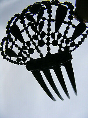 Vintage hair comb Jet? Obsidian? Celluloid faceted pieces on metal support, flex
