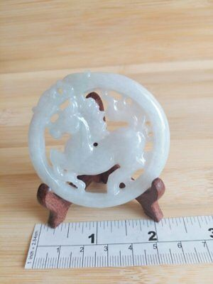 natural jade carvings: horse in a cicle, 55x7mm, 2-side carved with wood stand
