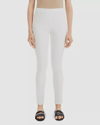 $543 Theory Women's White Seamed High Rise Stretch Zipper-Ankle Leggings Size 8