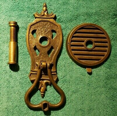 Vintage Brass Door Knocker Peephole Speakeasy Adjustable Depth Collectible