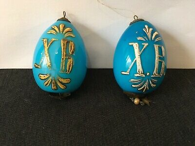 RARE Antique Russian Imperial Porcelain Robins Egg Blue  Easter Eggs With XB