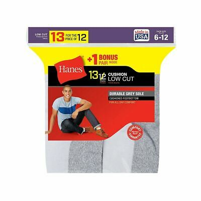13-Pack Hanes Men's Cushion Low Cut Socks - Black or White - Shoe Size 6-12