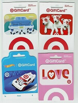 TARGET Gift Card - LOT of 4 - Hot Wheels car, Dogs, Valentines Heart - No Value