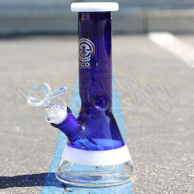 Color Thick Square Lip & Stem Hookah Water Pipe Glass 8 Inch Tobacco Bong Beaker