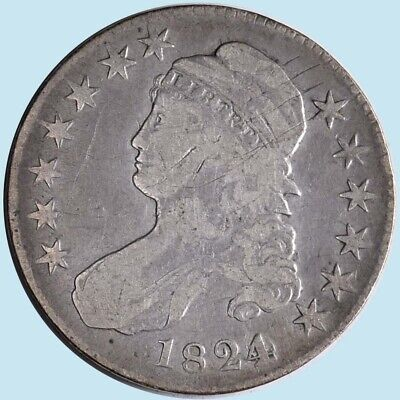 Authentic 1824 Bust Half Dollar O-103 with Very Fine Details