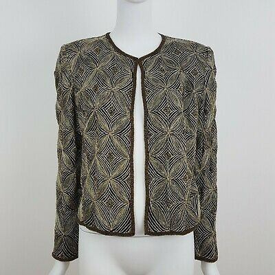 Papell Boutique Evening Jacket Medium M Silk Embroidered Beaded Statement
