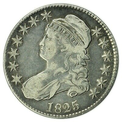 1825 Capped Bust Half Dollar Overton, Silver Coin, Tougher Variety [A4.109]