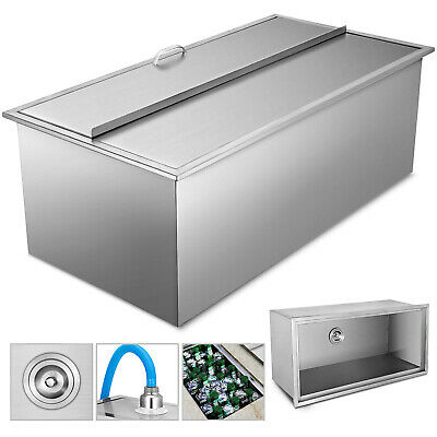 "36""X 18""X14"" Drop In Ice Chest Bin With Cover + Drain Lid Condiments Cooler"