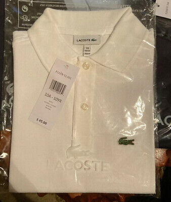 New Lacoste Classic Boys White Size 10 Polo Style Pull Over Short Sleeve